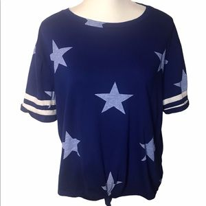 Blue stars  tee-shirt knot front